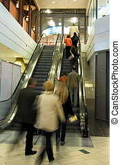 centre commercial, achats, ascenseur, gens