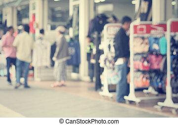 centre commercial, achats, brouillé