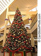 centre commercial, arbre, noël
