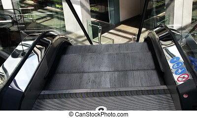 centre commercial, ascenseur, achats, escalator