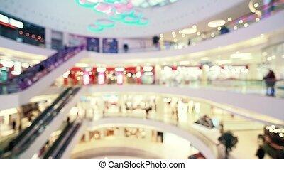 centre commercial, centre commercial, brouillé