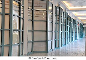 centre commercial, coin, couloir, vue