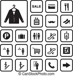 centre commercial, ensemble, achats, icônes