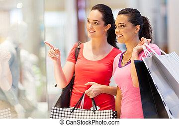 centre commercial, femmes commerciales, deux, jeune
