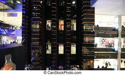 centre commercial, moscou, verre, ascenseur, levée, vue, européen