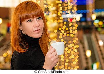 centre commercial, thé, cheveux, girl, rouges