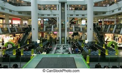 centre commercial, timelapse, achats, escalator, gens