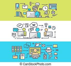 centre, concept, travail bureau, coworking, freelancer.