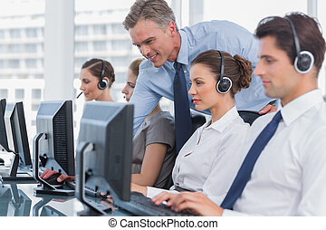centre, directeur, agent, sourire, appeler, portion