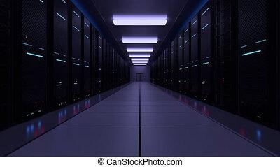 centre, données, salle serveur, réseau