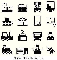 centre, ensemble, expédition, logistique, livraison, entrepôt, ligne, distribution, icône