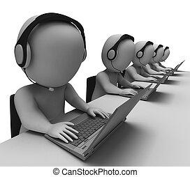 centre, exposition, helpdesk, hotline, appeler, opérateurs