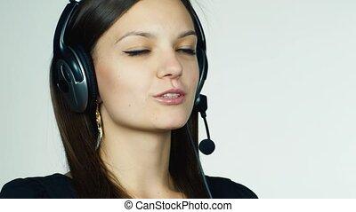centre, fond, appeler, femme, opérateur, blanc
