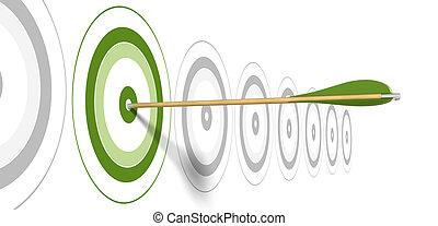 centre, gris, frapper, flèche, arrière-plan vert, cibles, cible
