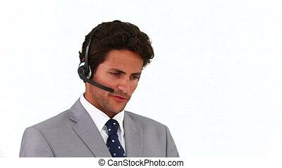 centre, homme affaires, appeler, portrait