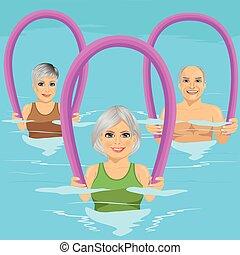 centre, mousse, eau, loisir, piscine, aérobic, fitness, personne agee, rouleaux, classe, gens, natation