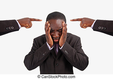 Centre of Blame! - This is an image of a man feeling guilty,...