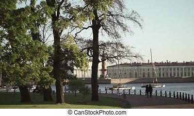 Centre of Saint-Petersburg: River Neva, Rostral columns shot