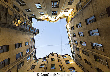 centre of Saint Petersburg, Russia - Typical yard of a well...