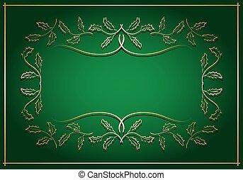 centre, or, cadre, -, vecteur, arrière-plan vert