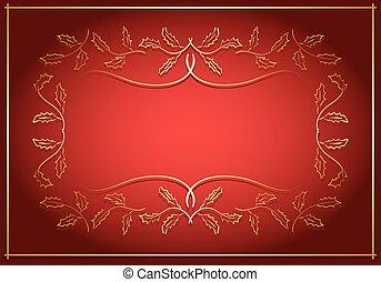 centre, or, cadre, -, vecteur, fond, rouges