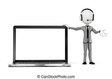 centre, ordinateur portable, -, ligne, homme affaires, homme, soutien, 3d