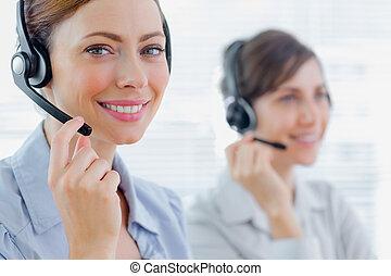 centre, travail, sourire, appeler, agents, ecouteurs