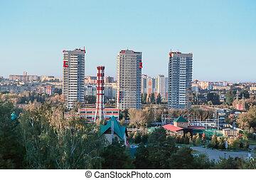 centre ville, chelyabinsk, secteur, résidentiel, russie