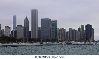 centre ville, chicago, jour brumeux, vue