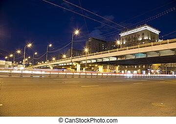 centre ville, (prospekt, voitures, moscou, trafic, nuit, mira), russie