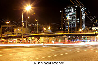 centre ville, voitures, moscou, trafic, nuit, russie