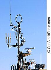 centrera, antenner, kommando, bord, radar, skepp, telekommunikation