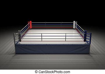 centrera, boxning, spotlighted., mörk, framförande, ringa, dens, tom, 3