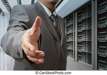 centrera, erbjudande, teknologi, hand, affärsmän, skaka, ...