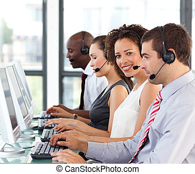 centrera, etnisk, arbete, ringa, affärskvinna