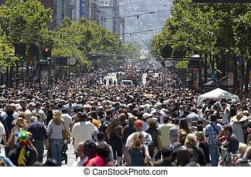 centrera, folkmassa, fokusera