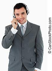 centrera, hörlurar med mikrofon, medel, manlig, ringa