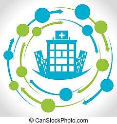 centrera, medicinsk, sjukhus, design