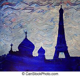 centrera, ortodox, själslig, eiffel, paris, frankrike, kulturell, rysk, torn