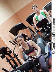 centrera, par, ung, equipments, allvarlig, träningen, användande, sport