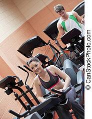 centrera, par, ung, equipments, träningen, användande, sport, lycklig