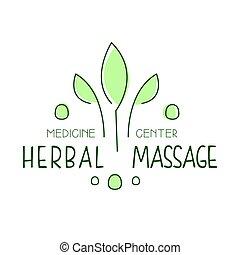 centrera, symbol, illustration, herbal, vektor, medicin, logo, massera