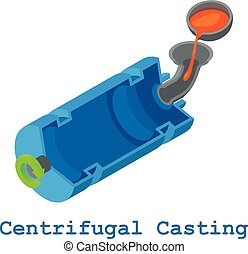 Centrifugal casting metalwork icon, isometric 3d style