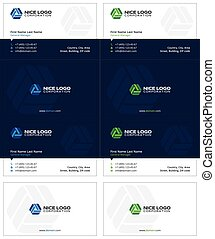 circulation business cards, dark blue, blue and green colors