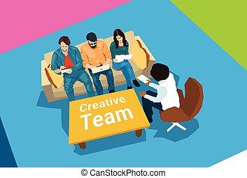 centro, affari, creativo, coworking, posto lavoro, squadra