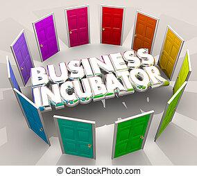 centro, affari, ditta, avvio, laboratorio, incubatrice, illustrazione, porte, nuovo, 3d
