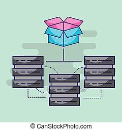centro, almacenamiento, hosting, servidor, conexión, datos