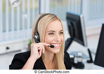centro, amistoso, llamada, recepcionista, operador, o