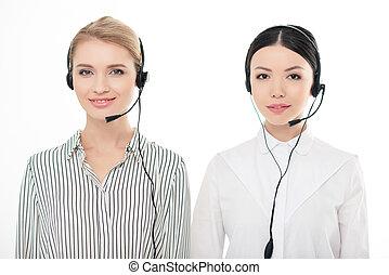 centro, auriculares, operadores, aislado, llamada, retrato, blanco