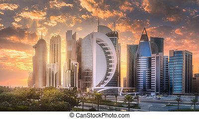 centro, bahía, qatar, doha, oeste, contorno, ciudad